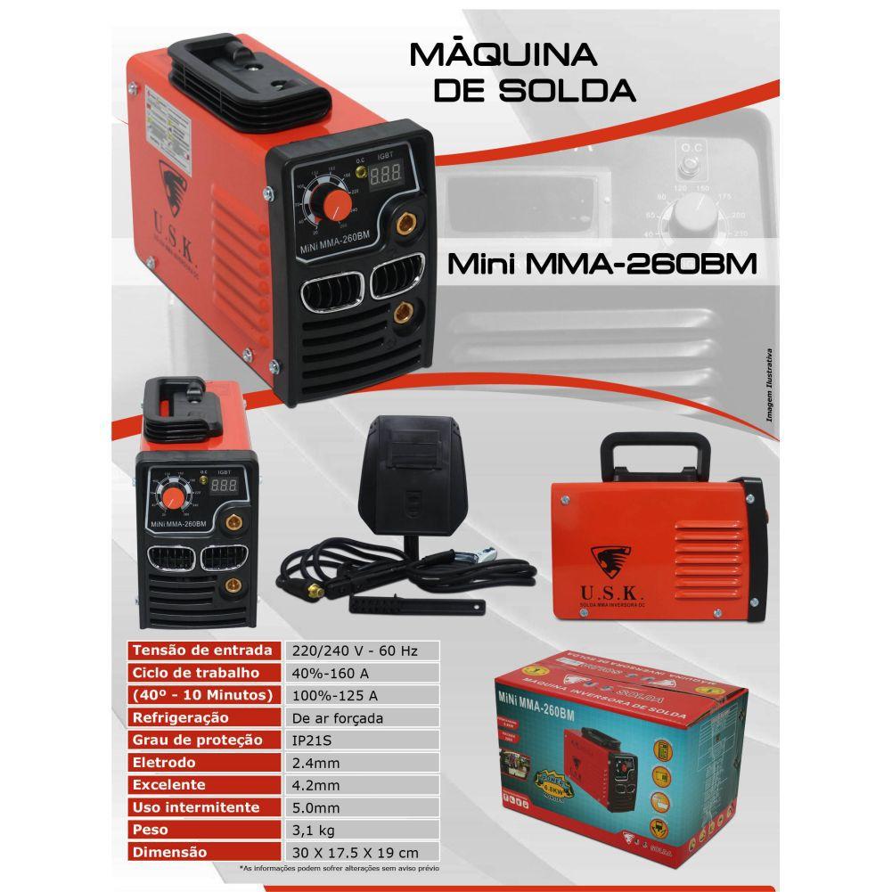 Kit Maquina Inversora P/ Solda Digital Mini MMA 260BM 220v USK + Mascara Automatica