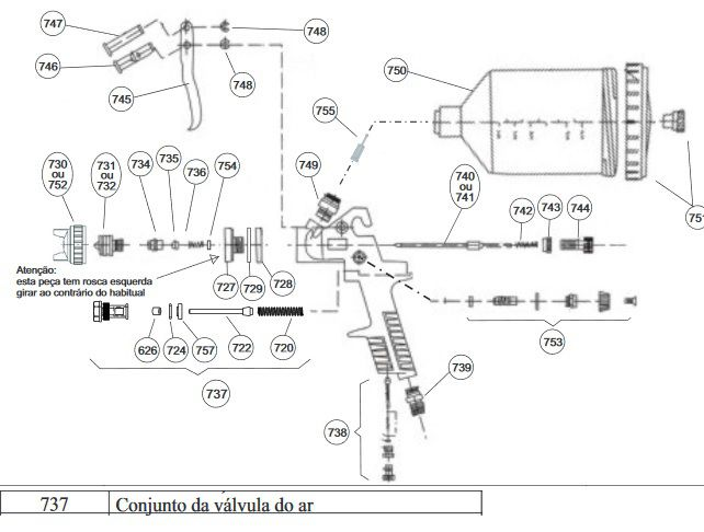 Kit Peças Reposição P/ Pistola Pintura Steula BC 75 1.4 e 1.7 COD.: 737 Conjunto da válvula do ar