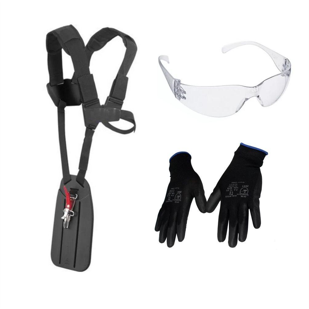 Kit Protecao P/ Operação de Roçadeira Profissional C/ Cinto Duplo Oculos e Luva Pu
