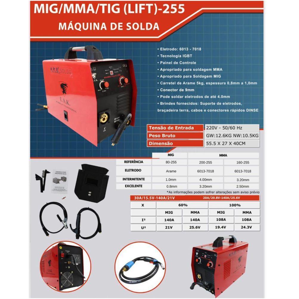 Maquina De Solda Multiprocesso MMA MIG TIG LIFT 255 220v USK