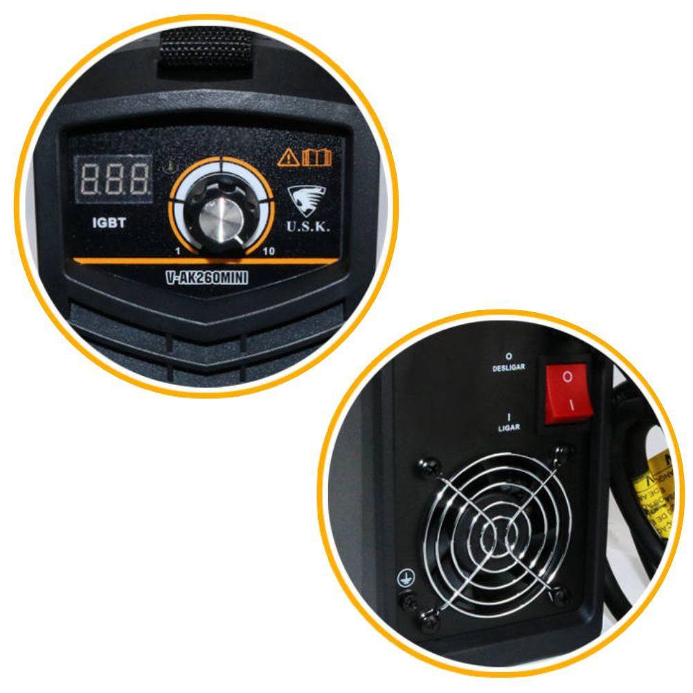Maquina Inversora P/ Solda Digital Mini MMA 260 220v USK