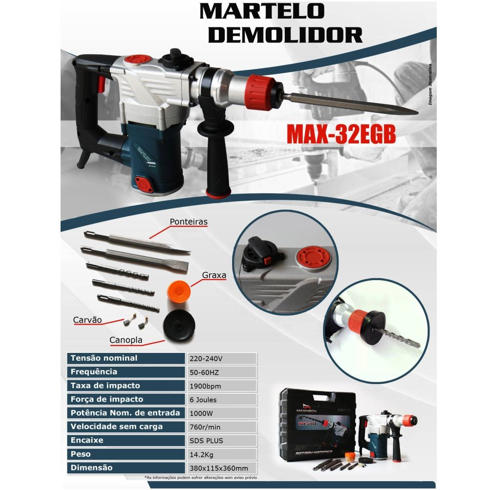 Martelete Demolidor 1000W 220v 50/60hz USK MAX-32EGB 12 Meses de Garantia.