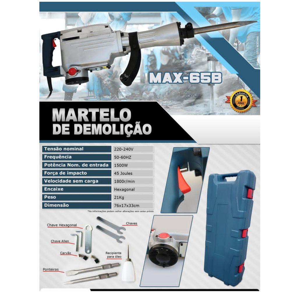 Martelete Demolidor 1500W 220v 50/60hz USK MAX-65B 12 Meses de Garantia.