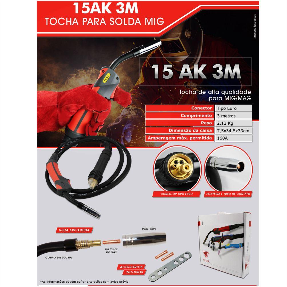 Tocha para Solda MIG/MAG Euro Conector 160A 3 Metros - USK 15KD-3M