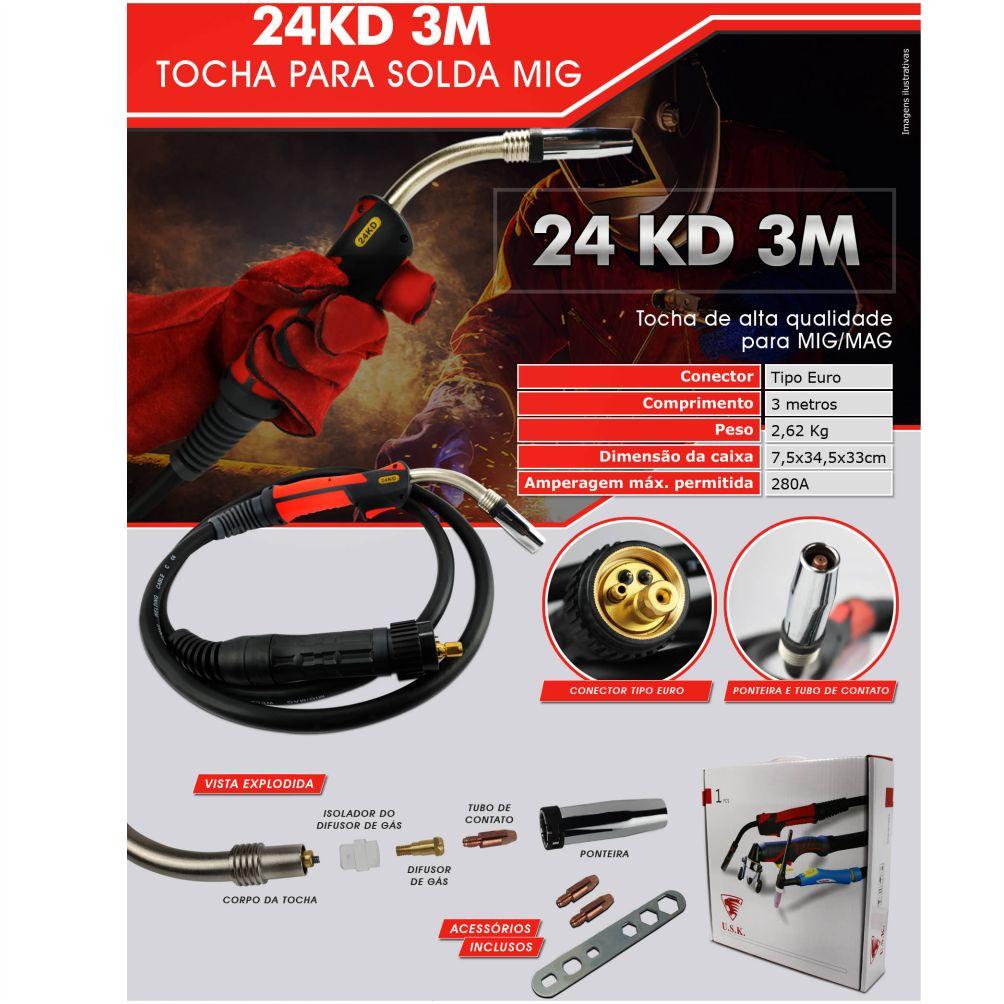 Tocha para Solda MIG/MAG Euro Conector 280A 3 Metros - USK 24KD-3M