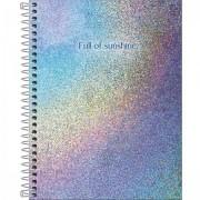 Caderno Colegial Glow holográfico metalizado - 80 folhas / 1 matéria