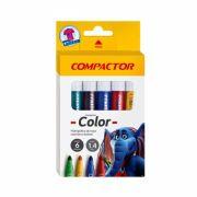 Caneta Hidrográfica Color C/ 6 Cores - COMPACTOR