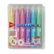 Giz De Cera Retrátil Cores Pastel Mega Gel C/ cheiro Tris