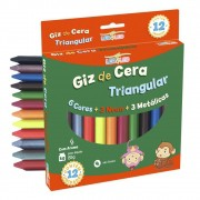 GIZ DE CERA TRIANGULAR C/ AROMA 12 CORES - LEO&LEO