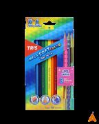 Lápis De Cor Mega Soft Color 12/ cores + 3 Lápis De Escrever Collection Star Tris