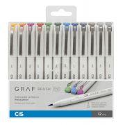 Marcador Cis Graf Brush Estojo C/ 12 Unidades