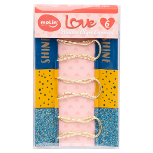 Binder Clips Especial Love Azul - Molin