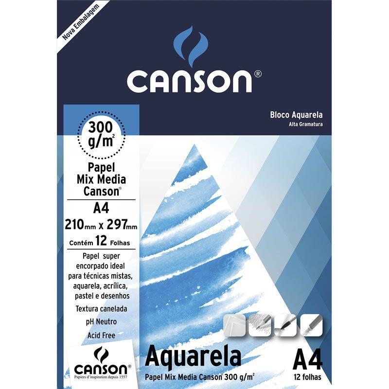 Bloco A4 Aquarela 300 g/m Canson