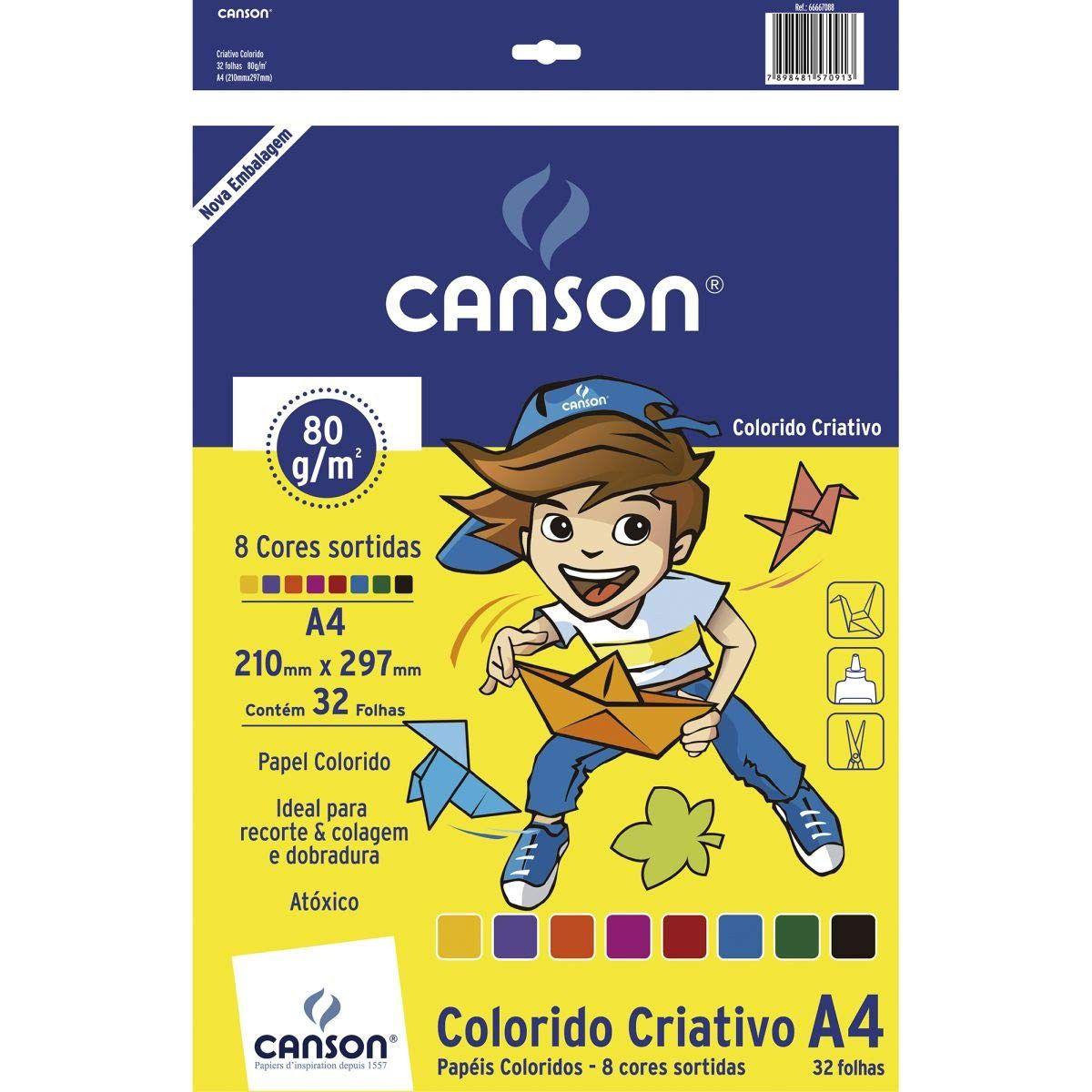 Bloco Colorido Criativo A4  8 cores 80g