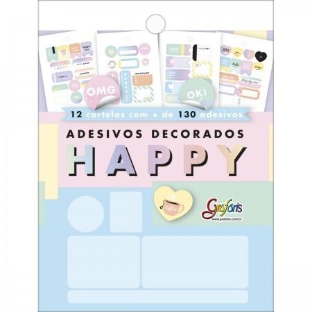 Bloco de adesivos decorados Happy