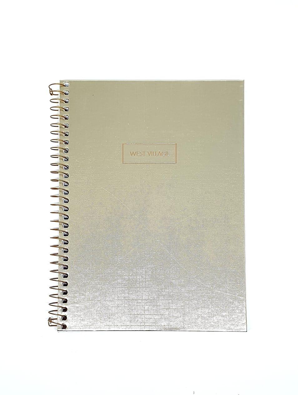 Caderno Colegial  West Village Metalizado / Dourado