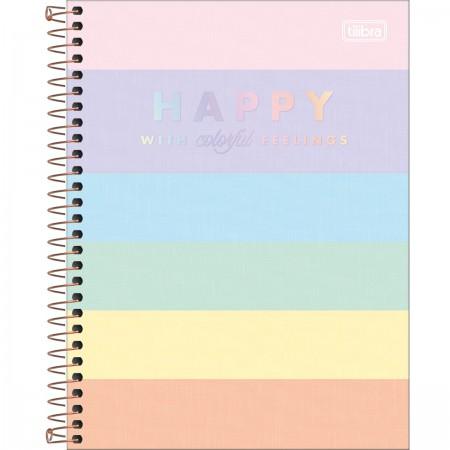 Caderno Espiral Colegial Happy