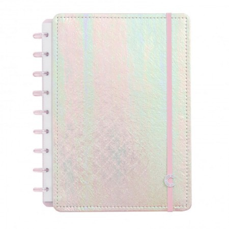 Caderno Inteligente Rosa Holográfico - Médio