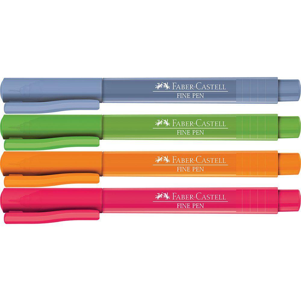 Caneta Fine Pen Faber-Castell 4 cores Neon