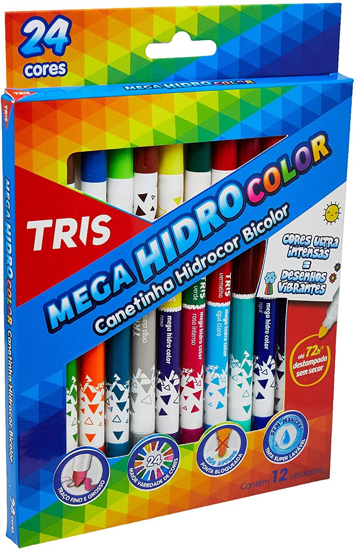 Caneta Hidrocor Bicolor Mega HidroColor C/ 24 Cores - TRIS