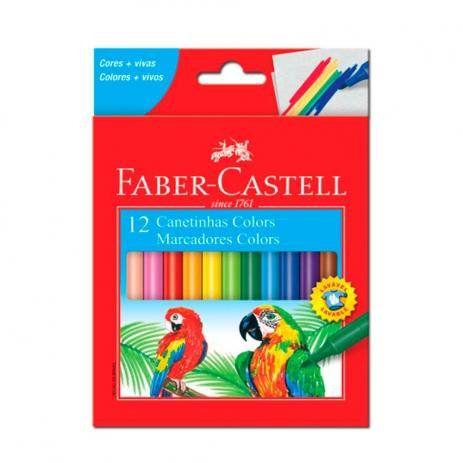 Caneta Hidrocor Lavável C/ 12 Cores Faber- Castell