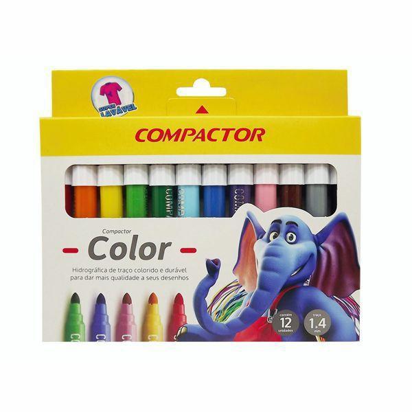 CANETA HIDROGRÁFICA COLOR COM 12 CORES - COMPACTOR