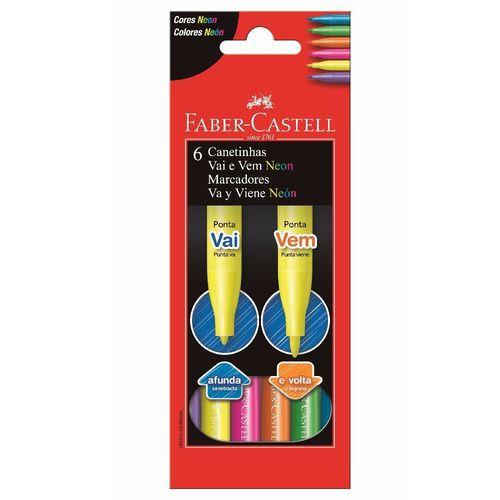 Caneta Hidrográfica Vai e Vem Neon Faber- Castell C/ 6 Cores