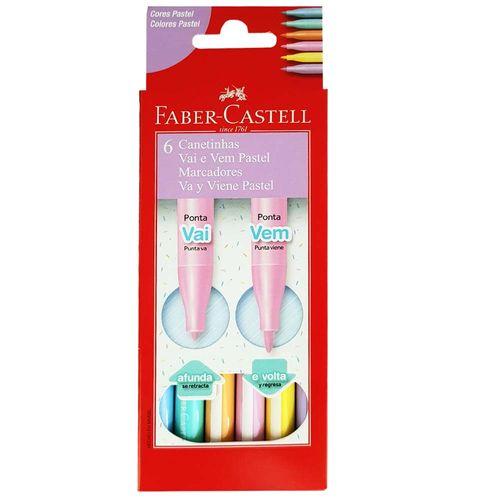 Caneta Hidrográfica Vai e Vem Pastel Faber- Castell C/ 6 Cores