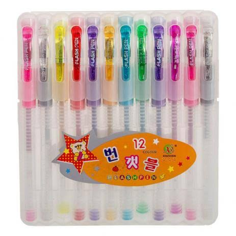 Canetas Flash Pen Glitter Estojo C/ 10