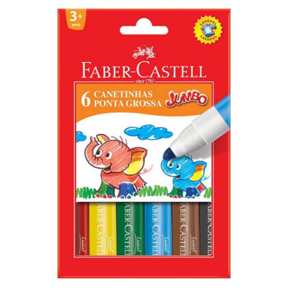 Canetinha Ponta Grossa Jumbo Faber-Castell C/ 6 Cores