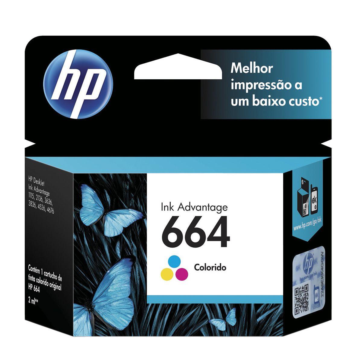 Cartucho HP 664 Colorido 2 ML