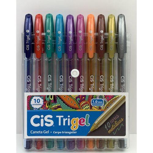Conjunto De Canetas Cis TriGel 1.0 mm 10 Unidades Cores Metálicas
