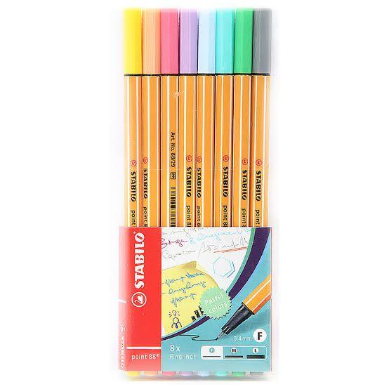 Conjunto De Canetas stabilo c/ 8 cores Pastel