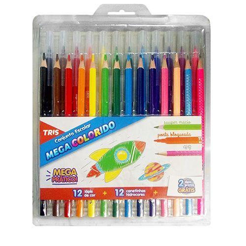 Conjunto Escolar Mega Colorido Tris