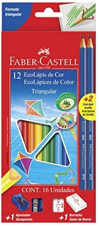 Ecolápis de Cor Triangular C/ 16 Unidades Faber-Castell