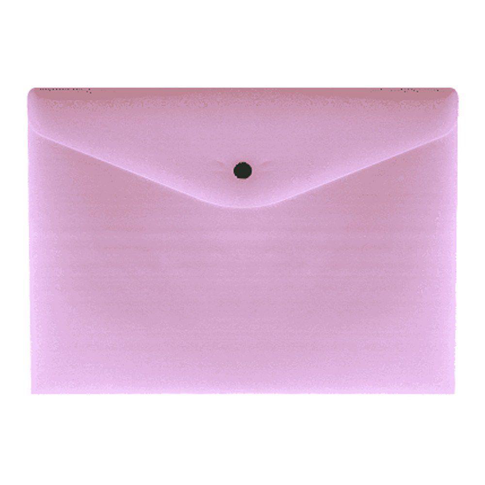 Envelope Com Botão A4 Serena - Rosa Pastel