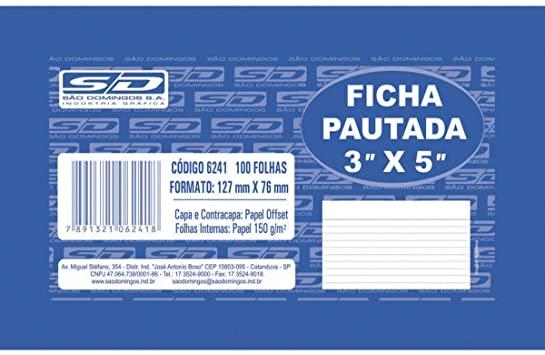 Ficha Pautada 3x5  100 Folhas São Domingos