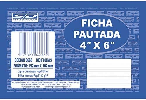 Ficha Pautada 4x6  100 Folhas São Domingos