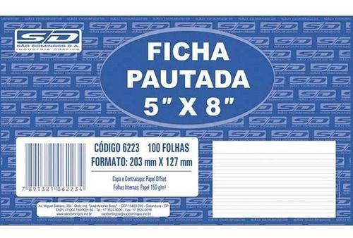 Ficha Pautada 5x8 100 Folhas São Domingos