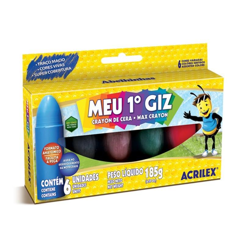 Giz De Cera Jumbo C/ 6 Cores  Acrilex - Meu Primeiro Giz