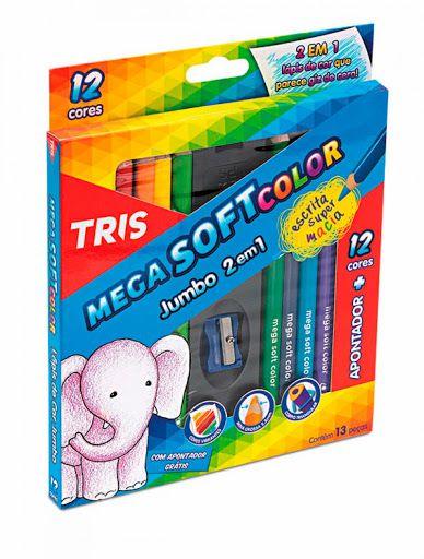 Lápis De Cor Triangular Soft Color Jumbo 2 em 1- Tris