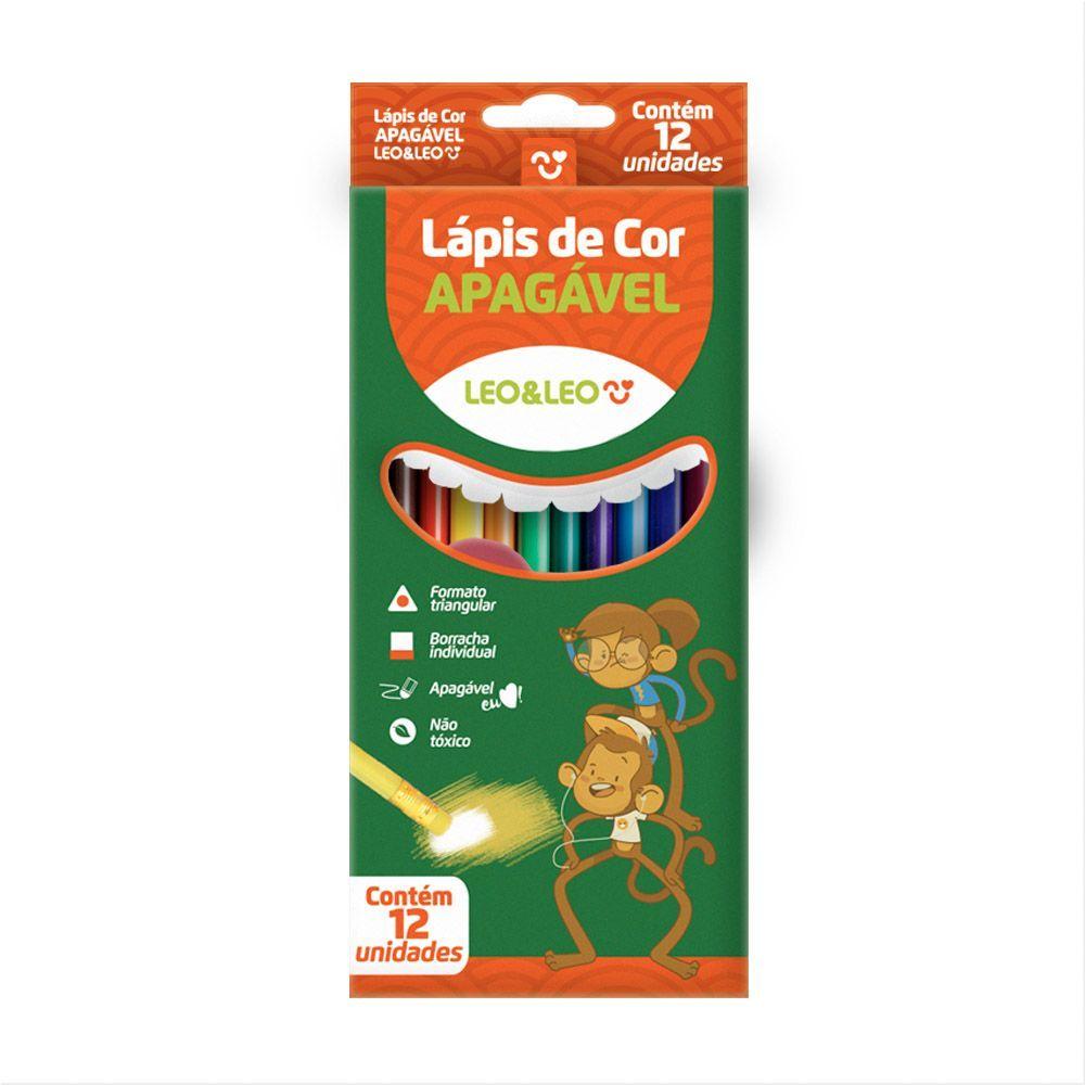 Lápis De Cor Apagável C/ 12 Cores - Leo&Leo