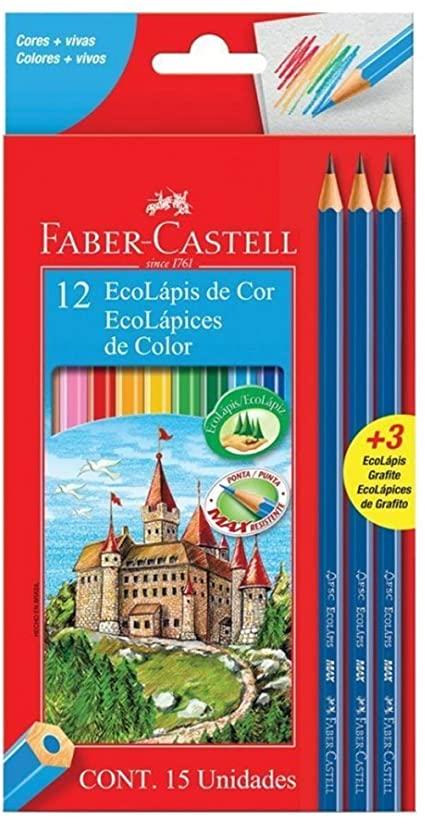 LAPIS DE COR C/ 12 CORES + 3 LAPIS DE ESCREVER FABER CASTELL