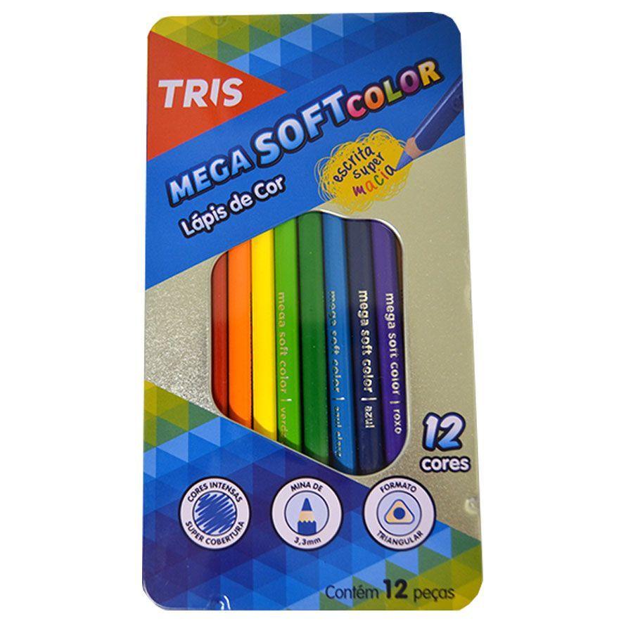 Lápis de Cor Mega Soft Color C/ 12 Cores + Estojo de Metal