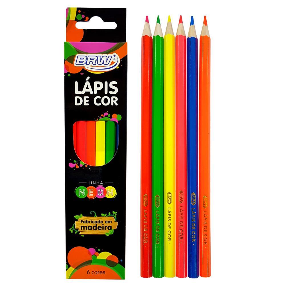 Lápis de Cor Neon Brw C/ 6 Cores