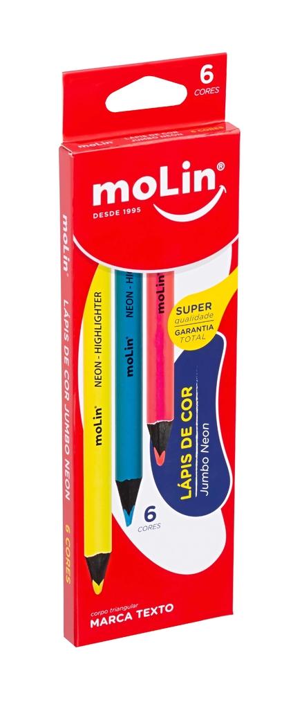 Lápis de Cor Neon Jumbo Molin C/6 Cores