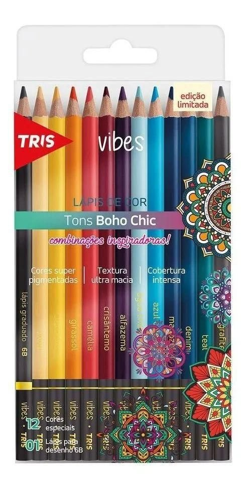 Lápis De Cor  Vibes Boho Chic TRIS C/12 Cores