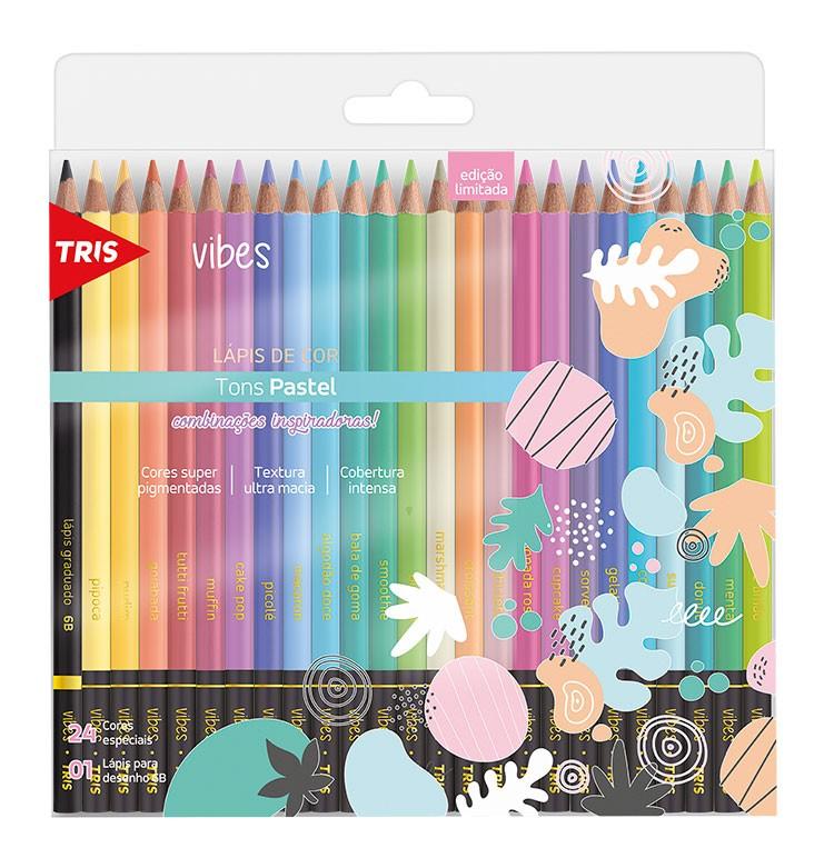 Lápis De Cor Vibes Tons Pastel C/ 24 Cores - Tris