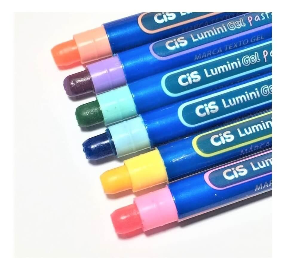 Marca Texto Cis Lumini Gel C/ 6 Cores Pastel