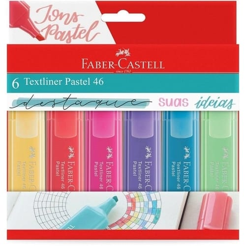 Marca Texto Textliner Pastel 46 C/ 6 Unidades - Faber-Castell